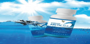 creative image of bottles of Forever Living Arctic Sea capsules floating in the open ocean on a sunny day