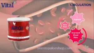 tin of ARGI  in front with a soft image of the inside of an artery as the background