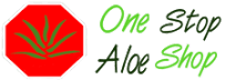 One Stop Aloe Shop logo. red stop sign with green aloe leaf. Name nest to it